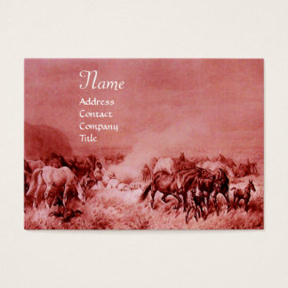 HORSES GRAZING  red brown Business Card