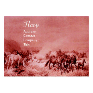 HORSES GRAZING  red brown Large Business Card