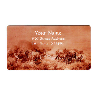 HORSES GRAZING ,red ,brown sepia Label