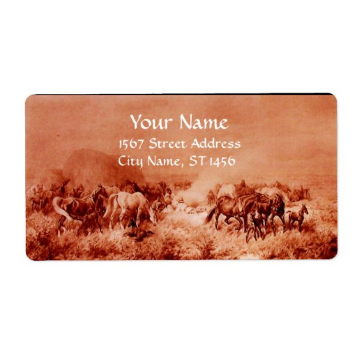 HORSES GRAZING ,red ,brown sepia Shipping Label