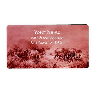 HORSES GRAZING ,red,fuchsia,pink Label