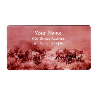 HORSES GRAZING ,red,fuchsia,pink Shipping Label