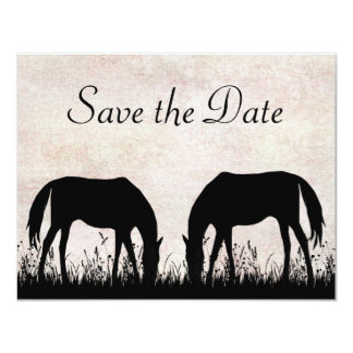 Horses Grazing Save the Date Wedding Announcement