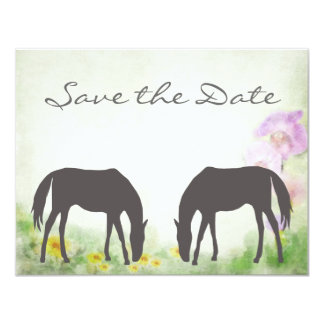 """Horses Grazing Save the Date Wedding Announcement 4.25"""" X 5.5"""" Invitation Card"""