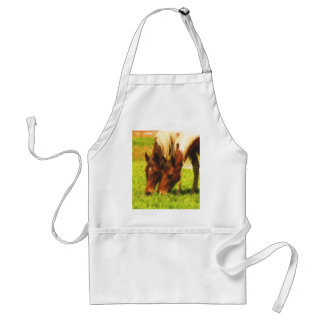 Horses Grazing Together Adult Apron