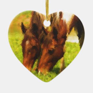Horses Grazing Together Ceramic Ornament