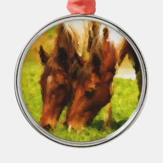 Horses Grazing Together Metal Ornament