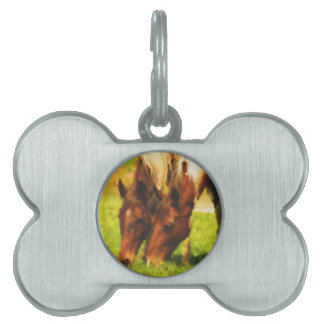 Horses Grazing Together Pet Tag
