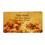 HORSES GRAZING ,yellow,brown sepia Shipping Label