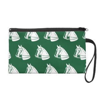 Horses green white wristlet clutches