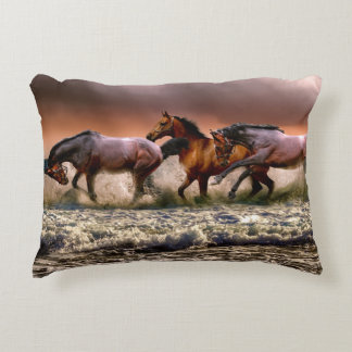 Horses Having A Paddle Accent Pillow