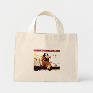 Horses Head with Retro Shapes Mini Tote Bag