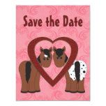 """Horses & Heart Save the Date Announcement 4.25"""" X 5.5"""" Invitation Card"""