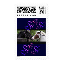 Horses & Hearts Postage,blue Postage