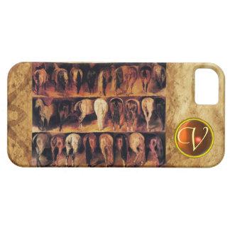 Horses' Hindquarters, Orange Agate Gem Monogram iPhone SE/5/5s Case