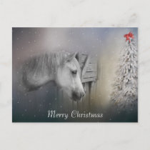 Horses: Horse Lovers Snowy Winter Christmas Holiday Postcard