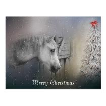 Horses: Horse Lovers Snowy Winter Christmas Postcard