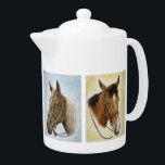 """Horses Horses! Teapot<br><div class=""""desc"""">Add charm to your kitchen with a pretty western horse inspired teapot! Handsome and practical,  this equine porcelain teapot will bring your unique style to the table. Beautifully designed from five original oil paintings by Artist Cathy Cleveland.</div>"""