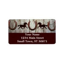Horses Horseshoes Barn Wood Cowboy Address Labels