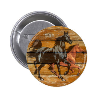 Horses Horseshoes Barn Wood Cowboy 2 Inch Round Button
