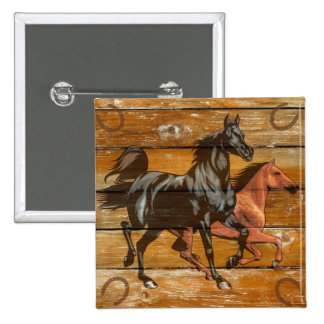 Horses Horseshoes Barn Wood Cowboy 2 Inch Square Button