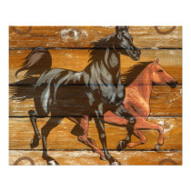 Horses Horseshoes Barn Wood Cowboy Flyer