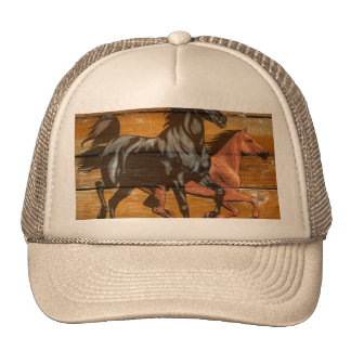 Horses Horseshoes Barn Wood Cowboy Trucker Hat