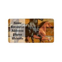 Horses Horseshoes Barn Wood Cowboy Label