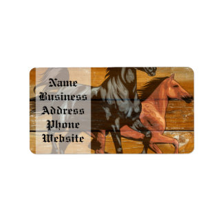 Horses Horseshoes Barn Wood Cowboy Label