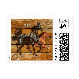 Horses Horseshoes Barn Wood Cowboy Postage