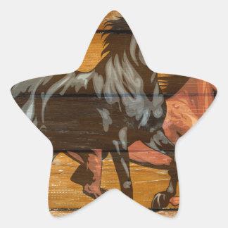 Horses Horseshoes Barn Wood Cowboy Star Sticker