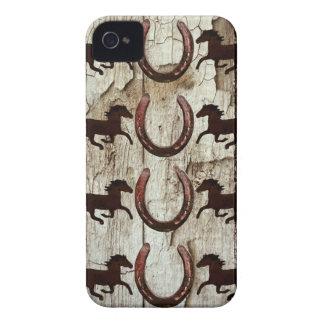 Horses Horseshoes on Barn Wood Cowboy Gifts iPhone 4 Case