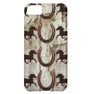 Horses Horseshoes on Barn Wood Cowboy Gifts Cover For iPhone 5C
