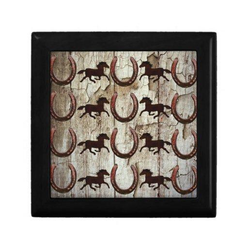 Horses Horseshoes On Barn Wood Cowboy Gifts Keepsake Boxes