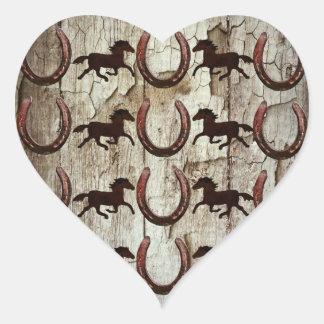 Horses Horseshoes on Barn Wood Cowboy Gifts Heart Sticker