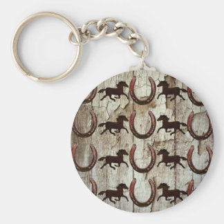 Horses Horseshoes on Barn Wood Cowboy Gifts Keychains
