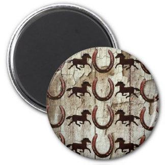 Horses Horseshoes on Barn Wood Cowboy Gifts Fridge Magnet