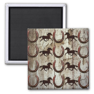 Horses Horseshoes on Barn Wood Cowboy Gifts 2 Inch Square Magnet