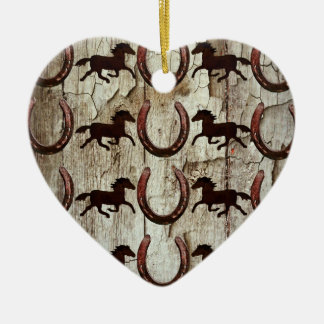 Horses Horseshoes on Barn Wood Cowboy Gifts Double-Sided Heart Ceramic Christmas Ornament