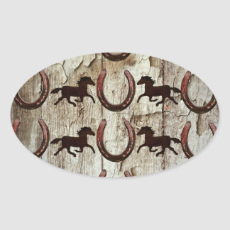Horses Horseshoes on Barn Wood Cowboy Gifts Oval Sticker