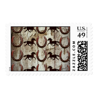 Horses Horseshoes on Barn Wood Cowboy Gifts Stamp