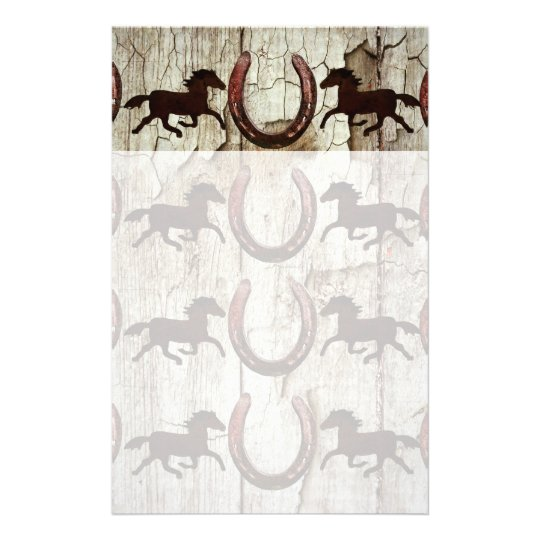 Horses Horseshoes on Barn Wood Cowboy Gifts Stationery