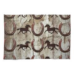 Horses Horseshoes on Barn Wood Cowboy Gifts Towel