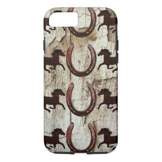 Horses Horseshoes on Barn Wood iPhone 7 Case