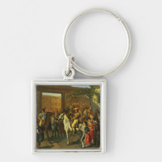 Horses in a Courtyard Keychain
