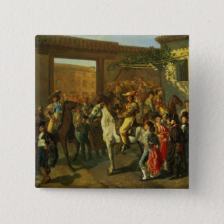 Horses in a Courtyard Pinback Button