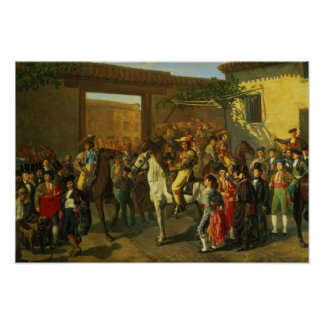 Horses in a Courtyard Poster