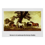 Horses In A Landscape By George Stubbs Print