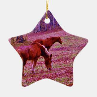 Horses in a lavender purple pink field, ceramic ornament