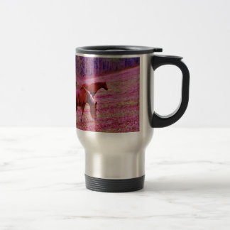 Horses in a lavender purple pink field, travel mug